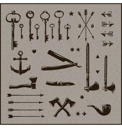 Set of hipster vintage design elements vector image
