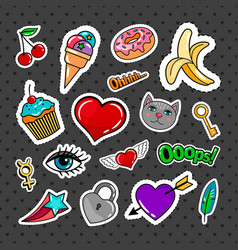 sweet quirky badges set vector image vector image