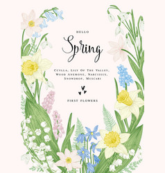 card with spring flowers vector image vector image