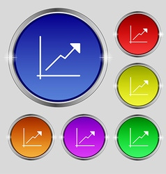 Chart icon sign Round symbol on bright colourful vector image vector image