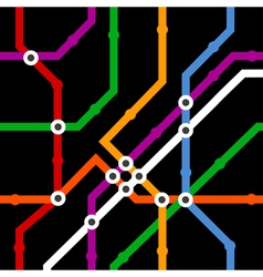 Color metro scheme seamless background on black vector image vector image