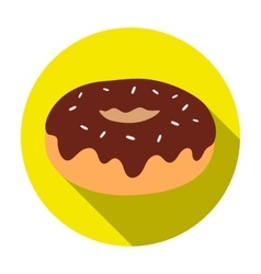 Donut with chocolate glaze icon in flat style vector image vector image