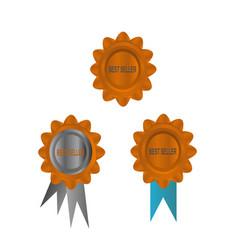 golden best seller icon vector image