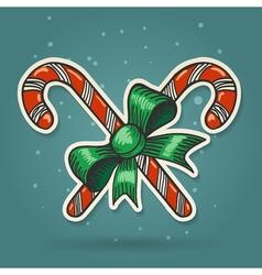Paper Cut Candy Canes Emblem vector image vector image