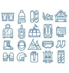 Snowboarding and Skiing Icons vector image vector image