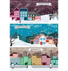 Winter urban landscapes set vector image