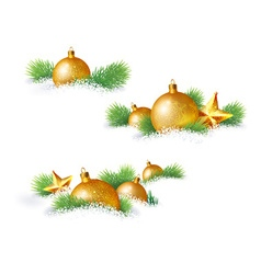 Christmas decorations and pine branches vector image