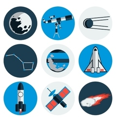 Flat design icons of space and astronomy vector image