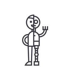 man android robot line icon sign vector image vector image