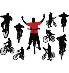 men with bicycle vector image