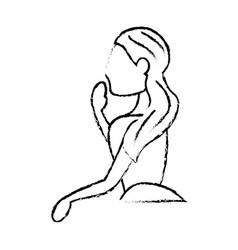 portrait woman bride sketch vector image