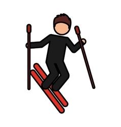 snow ski extreme sport vector image vector image