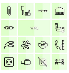 14 wire icons vector image
