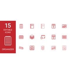 15 organizer icons vector