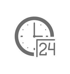 24 hours service support time grey icon isolated vector