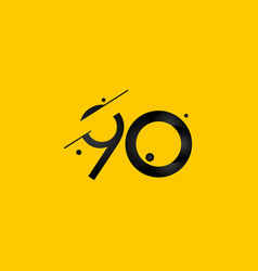 90 years anniversary celebration gradient yellow vector