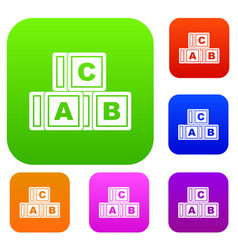 abc cubes set color collection vector image