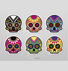 artistic mexican skull set vector image