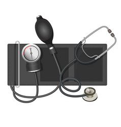 auscultatory method aneroid sphygmomanometer with vector image