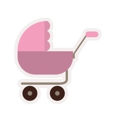 baby carriage with pink layette vector image
