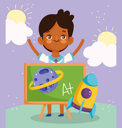 back to school student boy chalkboard rocket vector image