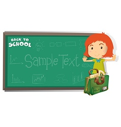 Back to school theme with girl and bag vector image