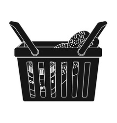 Basket with food e-commerce single icon in black vector