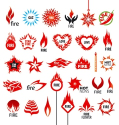 Biggest collection of logos fire and flames vector