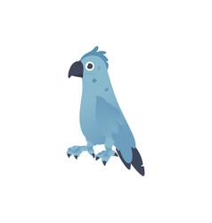 blue parrot tropical bird cartoon icon vector image