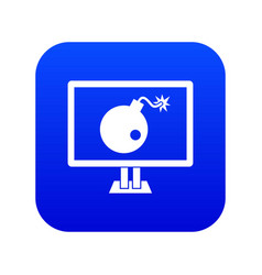 bomb on computer monitor icon digital blue vector image