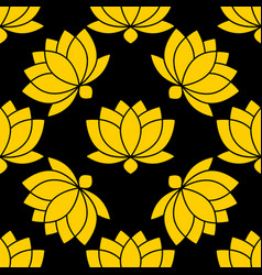 botanical lotus flower seamless pattern vector image