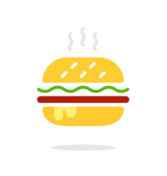 burger sign icon in flat style hamburger colorful vector image