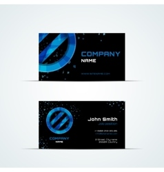 Business card template with blue sign vector