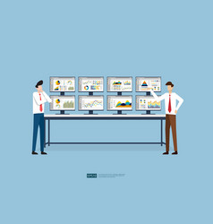Business people and stock market database vector