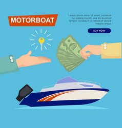Buying motorboat online boat selling web banner vector