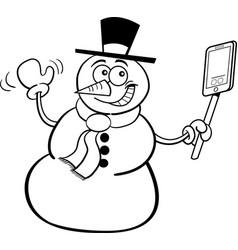 cartoon snowman holding a cell phone vector image