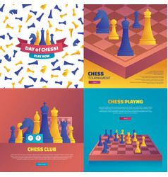 Chess playing cartoon posters set vector