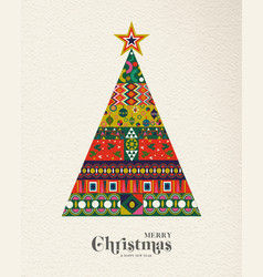 christmas and new year vintage folk pine tree card vector image