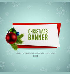 Christmas origami banner with balls vector