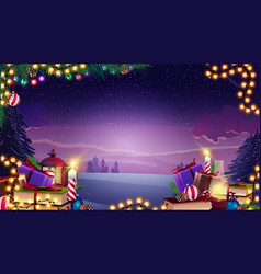 christmas template with garland tree vector image