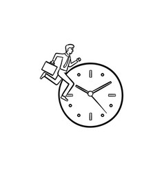 clock running hand drawn sketch icon vector image