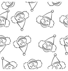 Clown circus of doodle style hand draw vector