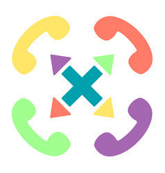 colorful handset flat icon set with cross vector image