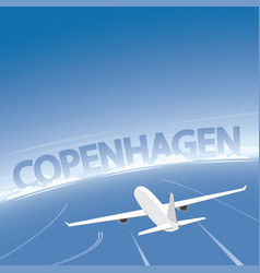 Copenhagen skyline flight destination vector