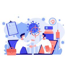 Covid-2019 vaccine research concept vector