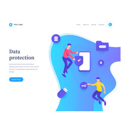 data protection concept workflow flying or vector image