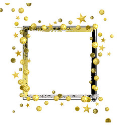 Decorative frame with golden confetti and vector