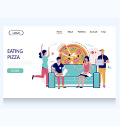 Eating pizza website landing page design vector