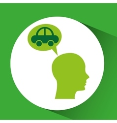 Eco silhouette green head vehicle vector