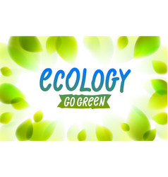 ecology word drawn on a window glass fresh green vector image